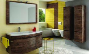 drewniane meble w nowoczesnej łazience